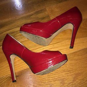 EUC Michael size 9 red peep toe stilettos